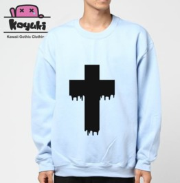 Cross Pastel Gothic Unisex Blue Sweatshirt