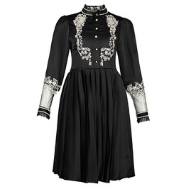 Gothic Black Women's Stand Collar Pleated Dress