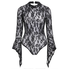 Gothic Black Flare Long Sleeve Lace Bodysuit Top