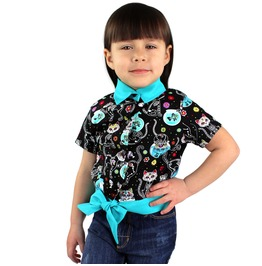 Girls Day Of The Dead Cat Knot Top