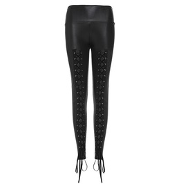 Gothic Black Lace Up High Waist Leggings