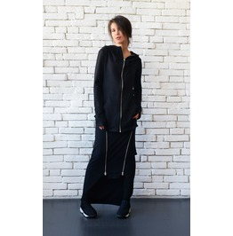 Asymmetric Black Hoodie/Long Sleeve Tunic/Casual Black Hooded Top