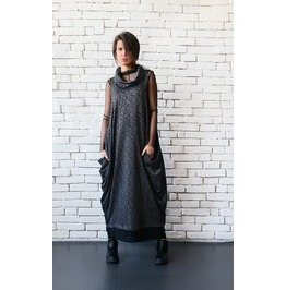 Black Maxi Dress/Oversize Long Top/Plus Size Tunic/Sleeveless Long Dress