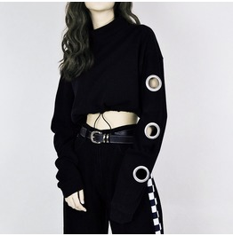 Metal Rings Crop Sweatshirt / Sudadera Argollas Wh129