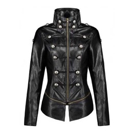 Women's Black Faux Leather Retro Military Gothic Button Jacket $5 To Ship!
