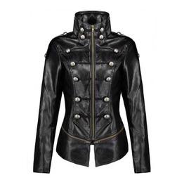 Women's Black Faux Leather Retro Military Gothic Button Jacket $5 To Ship!