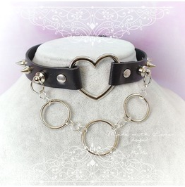 Bdsm Daddys Girl Choker Necklace Black Faux Leather Heart Spikes O Ring