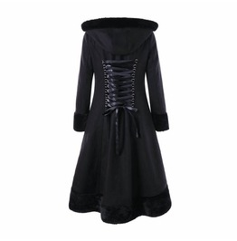 Hooded Button Back Detail Lace Womens Warm Coat