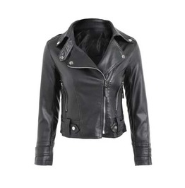Women's Black Faux Leather Motorcycle Vegan Punk Biker Jacket $5 To Ship!