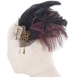 Steampunk Mesh And Feather Headdress Sp042
