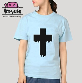 Pastel T Shirt For Combination Fashion Cross Gothic Blood