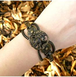 Steampunk Button Zipper Bracelet Antique Brass Maiden Cuff