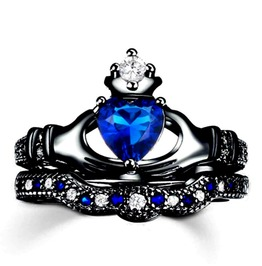Double Black Gold And Claddagh Ring With Blue And White Cubic Zirconia