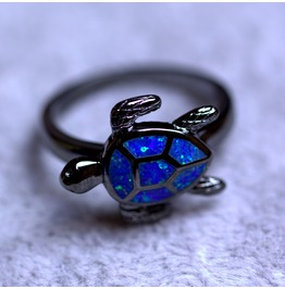 Blue Fire Opal Black Gold Filled Sea Turtle Ring