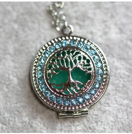 Silver Plated & Blue Rhinestones Glow In The Dark Tree Of Life Necklace