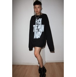 F#Ck The Pain Away Grunge Emo Style Edm Rave Oversized Sweatshirt