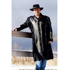 Men Western Cowboy Style Cowhide Leather Fringed And Beads Jacket Coat