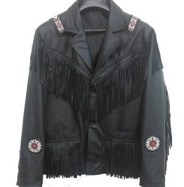 Men's Western Culture Cowboy Leather Jacket Beads Patches Black Fringes
