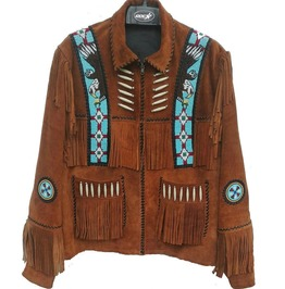 Men Western Style Beads Patches Suede Jacket, Brown Fringes Bones Jacket