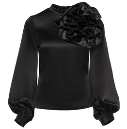 Gothic Black Applique Lantern Sleeve Blouse