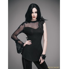 Black Romantic Gothic One Sleeve Shirt For Women Ett003