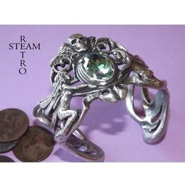 Gothic Aquamarine Skull Bracelet Jewelry Steamretro
