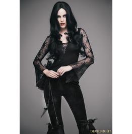 Black Romantic Gothic Sexy Flower Lace Shirt For Women Ett001