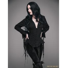 Black Gothic Sexy Deep V Neck Lace Blouse For Women Esht001