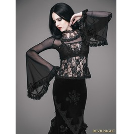 Black Romantic Gothic Rose Long Trumpet Sleeves Shirt For Women Ett052