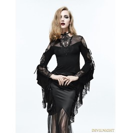 Black Vintage Gothic Sexy Lace Long Trumpet Sleeves Shirt For Women Ett006
