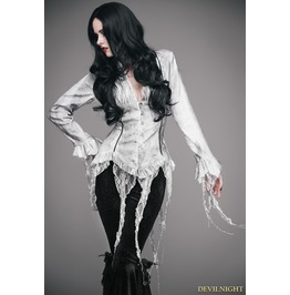 White Gothic Sexy Deep V Neck Lace Blouse For Women Esht002