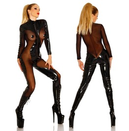 Dark Forest Bodysuit Latex Playsuit Faux Leather Black Womens