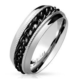 Black Pvd Chain Center Spinner And Diacut Lined Stainless Steel Ring