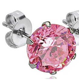 316 L Surgical Stainless Steel Stud Earring Pair 4mm Pink Cz