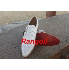 Handmade White Duck Shoes, Mens Fashion Double Monk White Duck Shoes