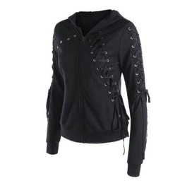 Women's Black Lace Up Eyelet Goth Punk Hooded Sweater Jacket Zip Hoodie
