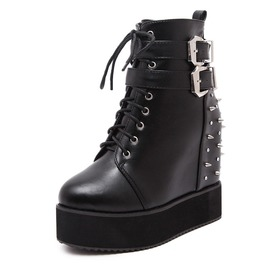 Wedge Platform Double Buckles Straps Lace Up Spikes Studded Women Boots