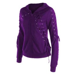 Women's Purple Lace Up Eyelet Goth Punk Hooded Sweater Jacket Zip Hoodie