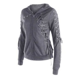 Women's Grey Lace Up Eyelet Goth Punk Hooded Sweater Jacket Zip Hoodie