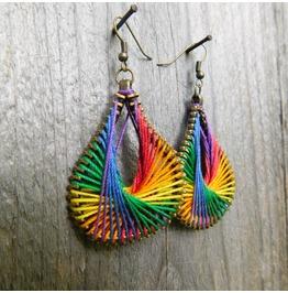 Steampunk Rainbow Peruvian Thread Zipper Earrings