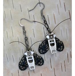 Silver Gothic Moth Zipper Earrings