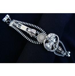 Silver Steampunk Maiden Button Zipper Cuff Bracelet