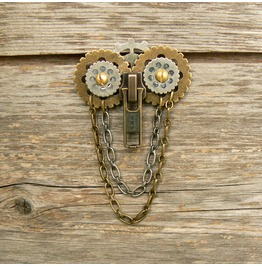 Steampunk Owl Zipper Brooch