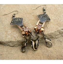 Steampunk Crayfish Zipper Earrings