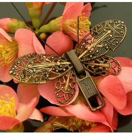 Steampunk Butterfly Zipper Brooch Pin