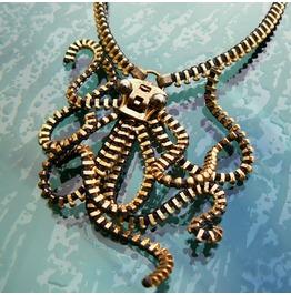 Steampunk Octopus Zipper Necklace