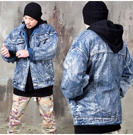 Distressed Paint Stain Oversized Denim Jacket 321