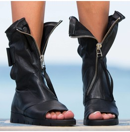 Black Genuine Leather Summer Boots/Woman Genuine Leather Summer Boots By Biju