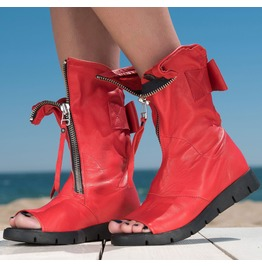 Red Genuine Leather Summer Boots/Woman Summer Boots By Biju