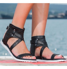 Woman Genuine Leather Black Sandals/Black Leather Sandals